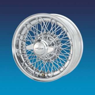 "Jaguar Competition Chrome CURLY HUB 5�"" x 15""   72 spokes wire wheel"